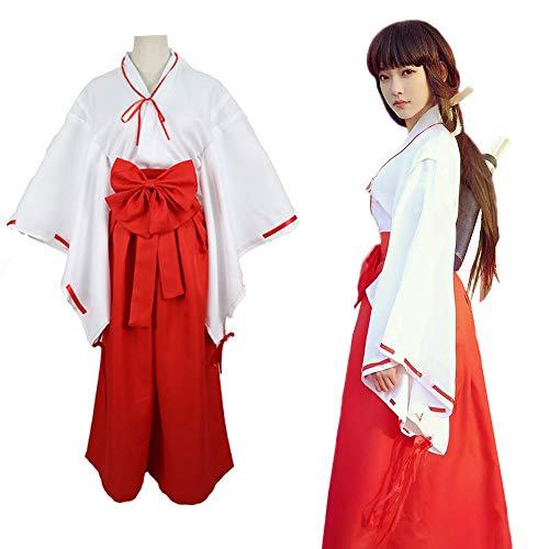 巫女 コスチューム コスプレ ハロウィン イベント 巫女装束 桔梗 衣装 白紐 赤袴 赤太帯 リボン クリスマス (M)