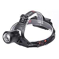 屋外用T6 LEDヘッドランプポータブルミニアジャスタブル釣りヘッドライト懐中電灯ヘッドランプキャンプ用ハンギング(ブラック) (Rustle666)