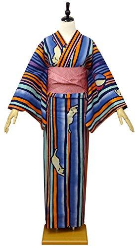 レディース浴衣ツモリチサト-tsumorichisato(ストライプ/ねこ8t-6)