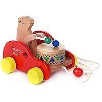 木製toys-bear Knock Theドラム車ドラッグ、クリエイティブ教育プッシュand Pull Toy Forベビー幼児キッズ
