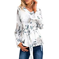 Relipop Women's Blouse Flare Sleeve Tie Front Floral Printed Shirt Casual Tops