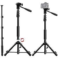 カメラ三脚 一脚可変式 3ウェイ自由雲台 360度回転可能 カメラ一脚 三脚スタンド型 水準器 カメラ・スマホ対応 アルミ素材 軽量 野外撮影に最適