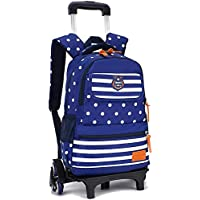 KJRJLG Rolling Backpack for Girls and Boy Rolling School Backpack with Wheels Laptop Backpack Roller Backpack (Color : Blue)