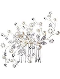 Feyarl ヘアコーム かんざし パール 結婚式 花嫁 ヘアアクセサリー パーティー 髪飾り シルバー
