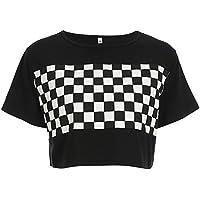 7ffe6fb62 Azigongyey Women Checkerboard Print Loose Black and White Plaid T-Shirt  Streetwear Crop Top