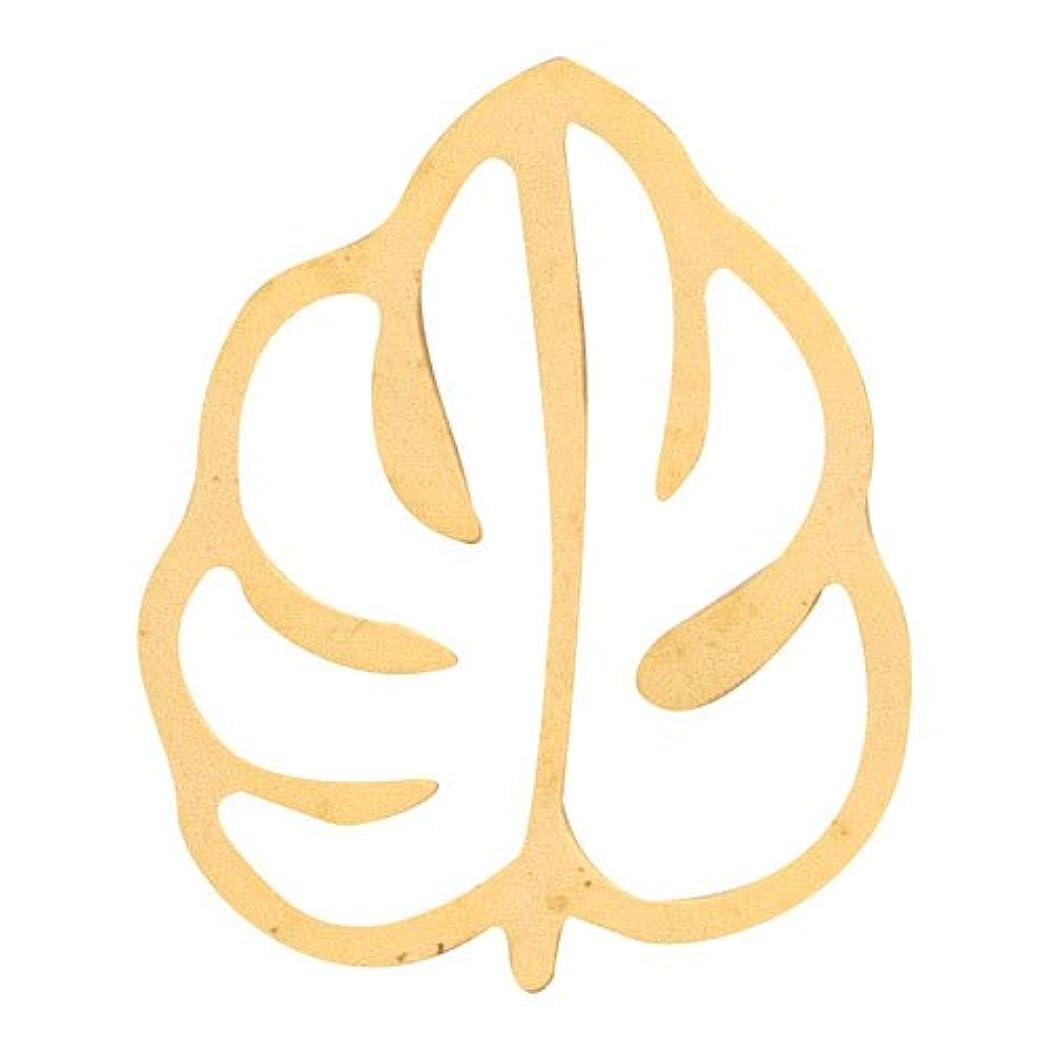 キャンバス重々しいナンセンスリトルプリティー ネイルアートパーツ モンステラ2 M ゴールド 10個