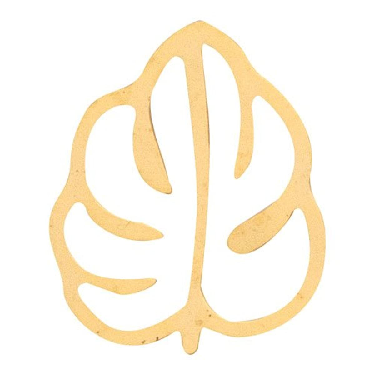 花束ペインギリック不完全なリトルプリティー ネイルアートパーツ モンステラ2 M ゴールド 10個