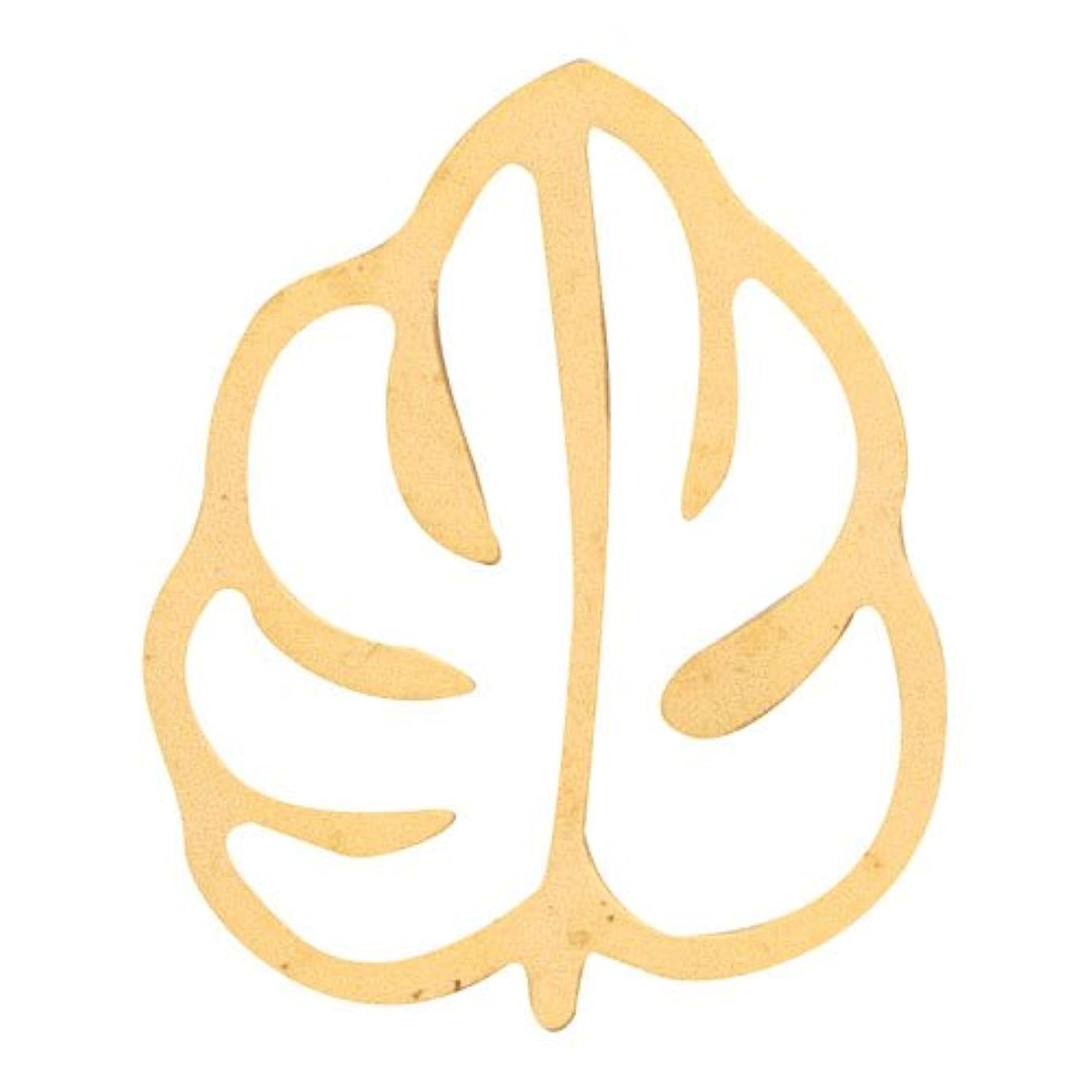 間に合わせ延期する頬骨リトルプリティー ネイルアートパーツ モンステラ2 M ゴールド 10個