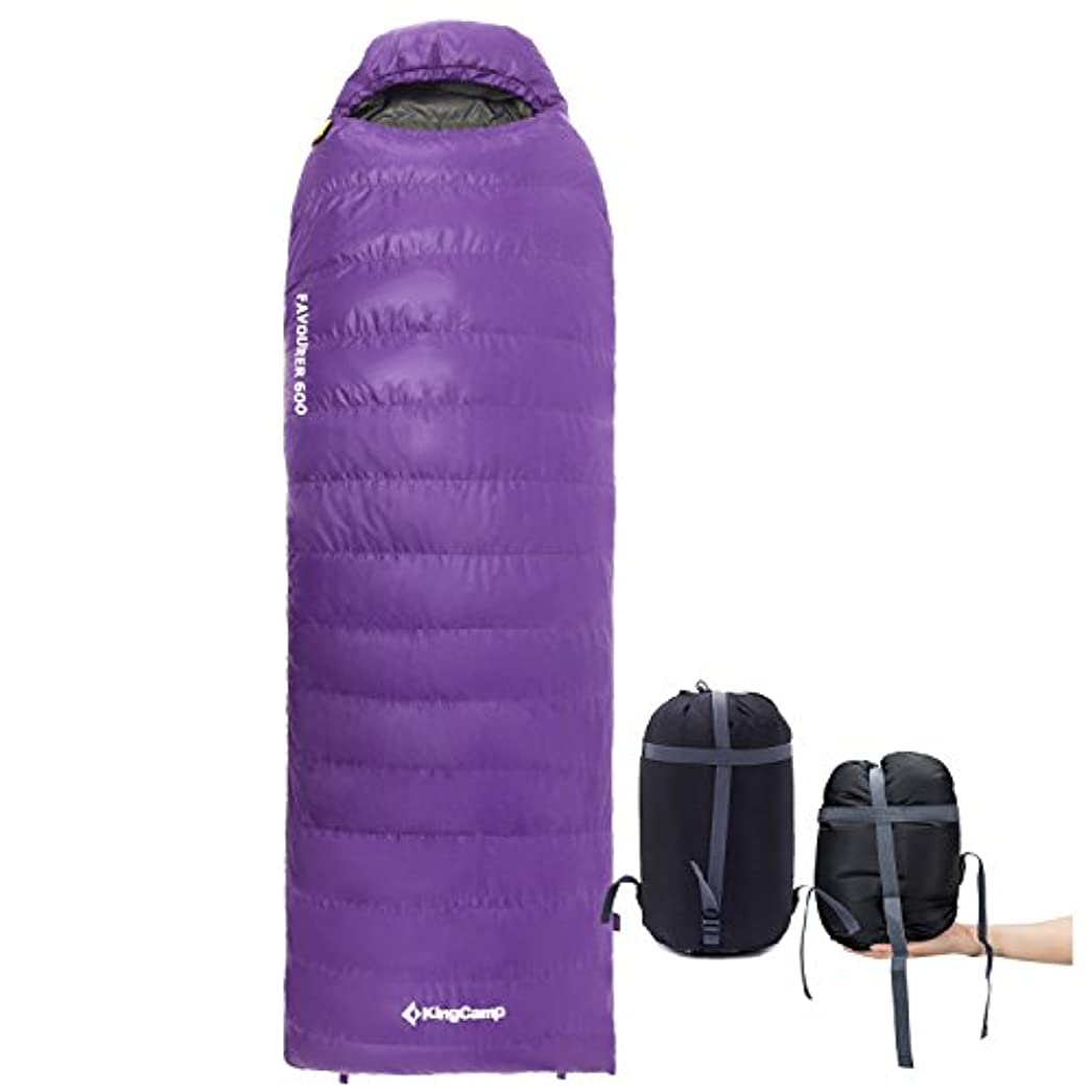 信頼できる組アナリストKingCamp(キングキャンプ)高級ダウン 寝袋 封筒型 天然羽毛シュラフ 超暖かい 超軽量 収納袋付き [最低使用温度-20℃]