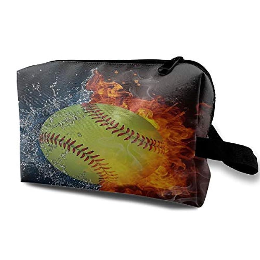 ばかげているクレアタックBaseball On Fire 収納ポーチ 化粧ポーチ 大容量 軽量 耐久性 ハンドル付持ち運び便利。入れ 自宅?出張?旅行?アウトドア撮影などに対応。メンズ レディース トラベルグッズ