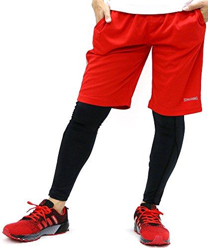 SPALDING(スポルディンク) ランニングウェア コンプレッション タイツ ジャージ ショートパンツ セット メンズ レッド LL