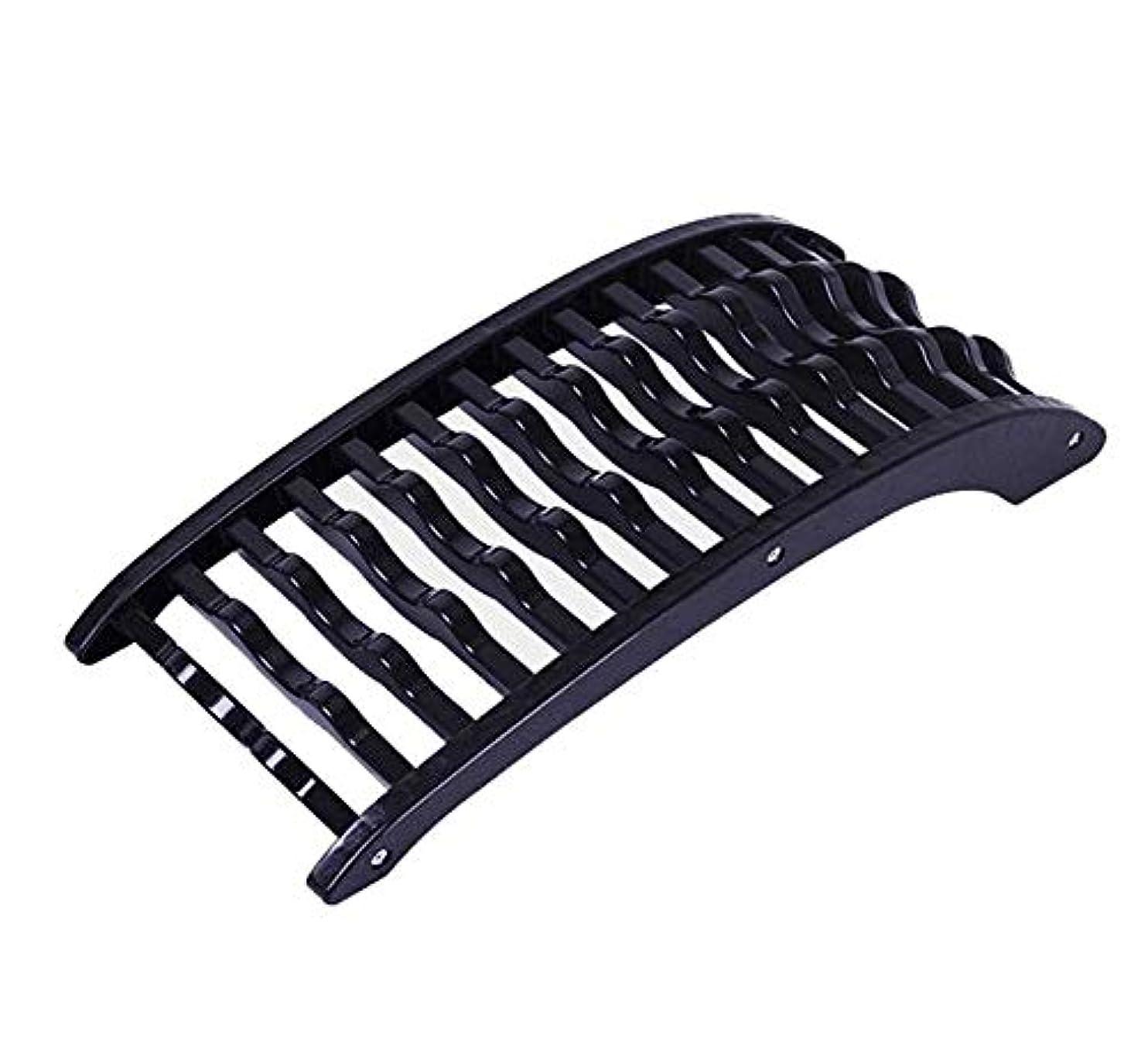 規則性会議ハイライト背中バキバキ バック ストレッチャー、腰椎サポートストレッチャ戻る脊椎ネックマッサージサポート背骨姿勢コレクターウエスト痛みを軽減するには、リラックス (Color : ブラック)