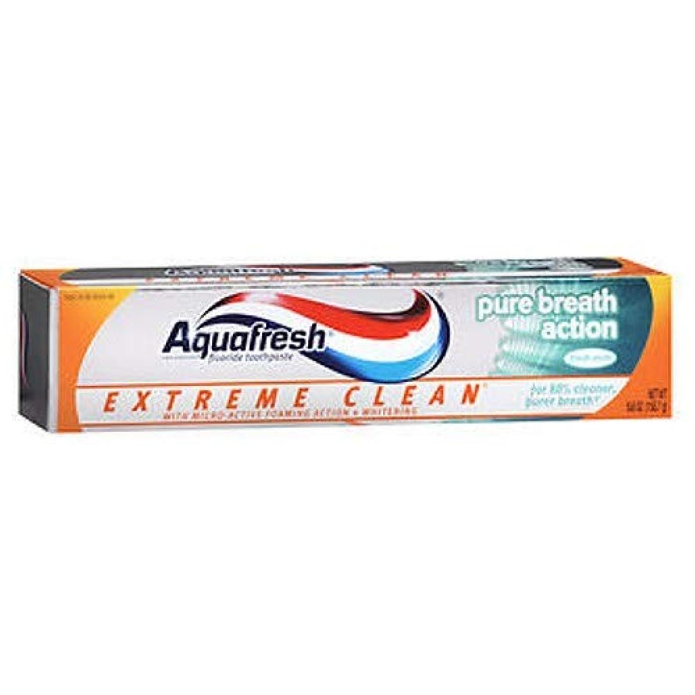 既婚クレーター面Aqua Fresh アクアフレッシュエクストリームクリーンピュアブレスアクション、フレッシュミント、5.6オンス、3パック