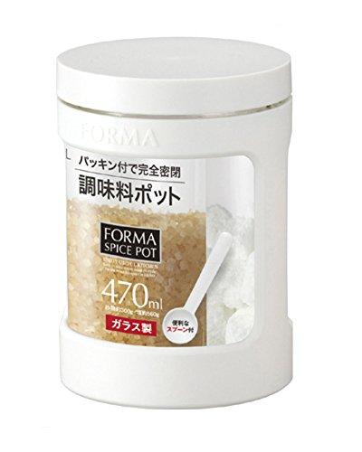 アスベル ガラス調味料ポットミニ 「フォルマ」 ホワイト