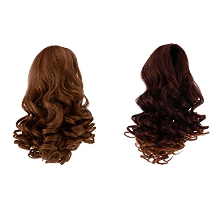 Lovoski 2個 美しい 波状  巻き   髪  かつら ヘア 18インチ アメリカンガール人形適用 DIY作り 装飾