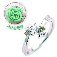 【SUEHIRO】 (婚約指輪) ダイヤモンド プラチナエンゲージリング(8月誕生石) ペリドット(日比谷花壇誕生色バラ付) #6