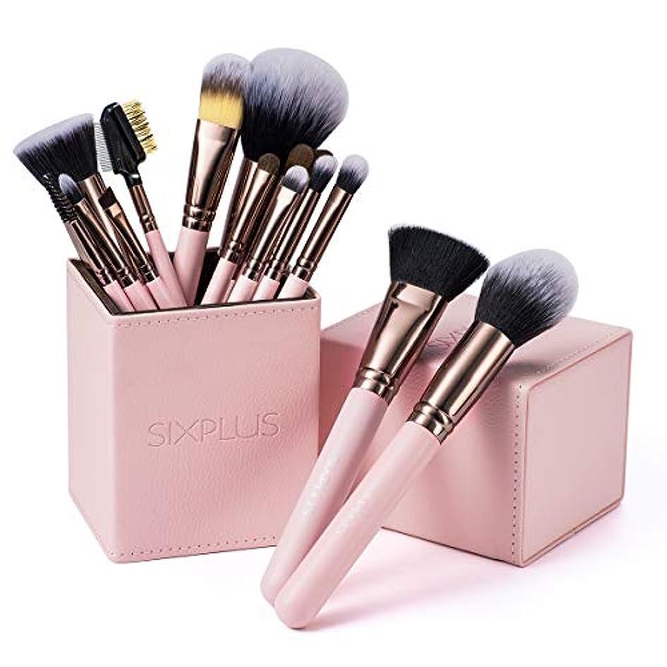 彫刻家適用する感嘆SIXPLUS ロマンチックなピンク色 メイクブラシ 15本セット(ピンク色)