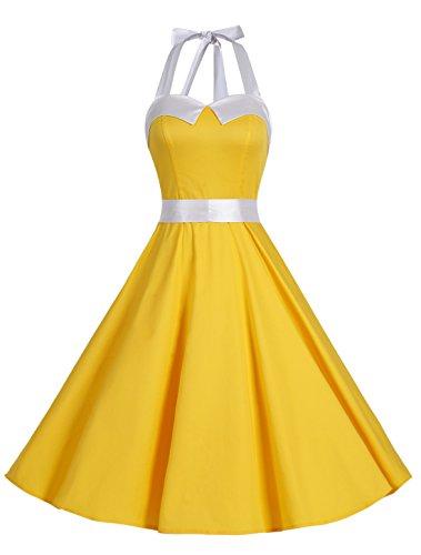 Dressystar レディーズ ホルターネック スイングワンピース ノースリーブ 水玉柄 ボタン付け 発表会ドレス お呼ばれ フォーマルドレス ソリッド イエロー M