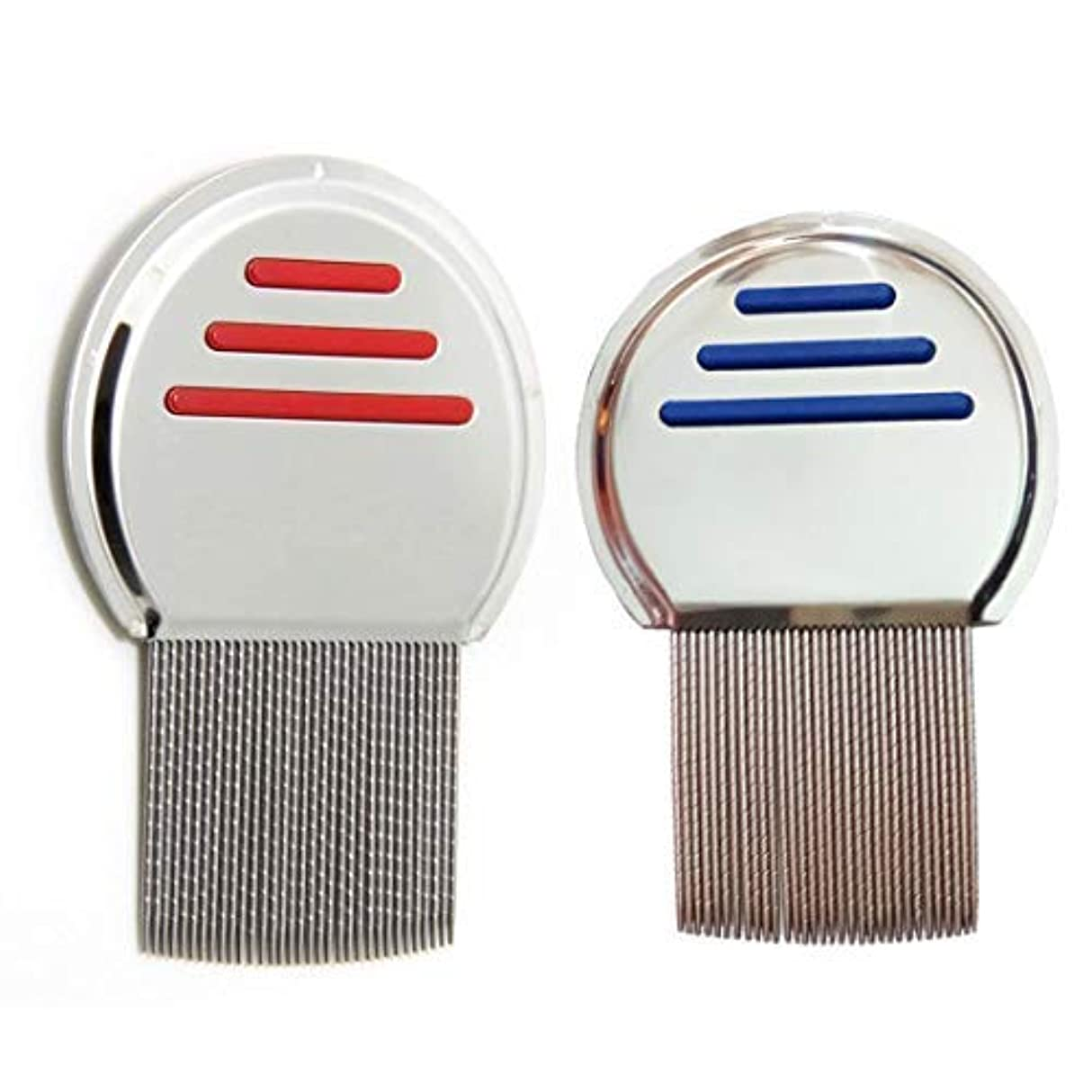 2 Pcs Stainless Steel Lice Dandruff Comb [並行輸入品]