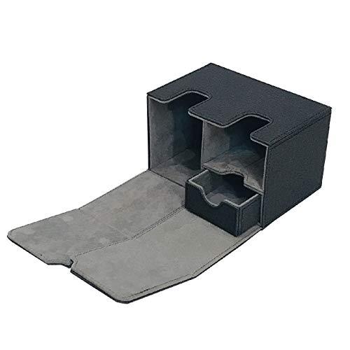 [Cicogna] トレカ カードデッキ レザー ケース 選べる4タイプ トレーディングカード ストレージボックス デッキホルダー 収納 Mシリーズ (タイプC: ブラック)