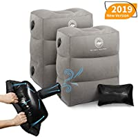BONAIR OUTFITTERS Upgraded with Pump Inflatable Travel Foot Rest Pillow | Kids Airplane Bed to Sleep | Adjustable Height Leg Pillow | Best Kids Travel Accessories for Air, Car, Train Grey with Pump