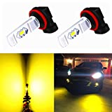 Alla Lighting 3800lm Xtreme Super Bright H11 H8 LED Fog Lights Bulbs 3000K Golden Yellow ETI 56-SMD 12V DRL Replacement for Fog Lamps H16