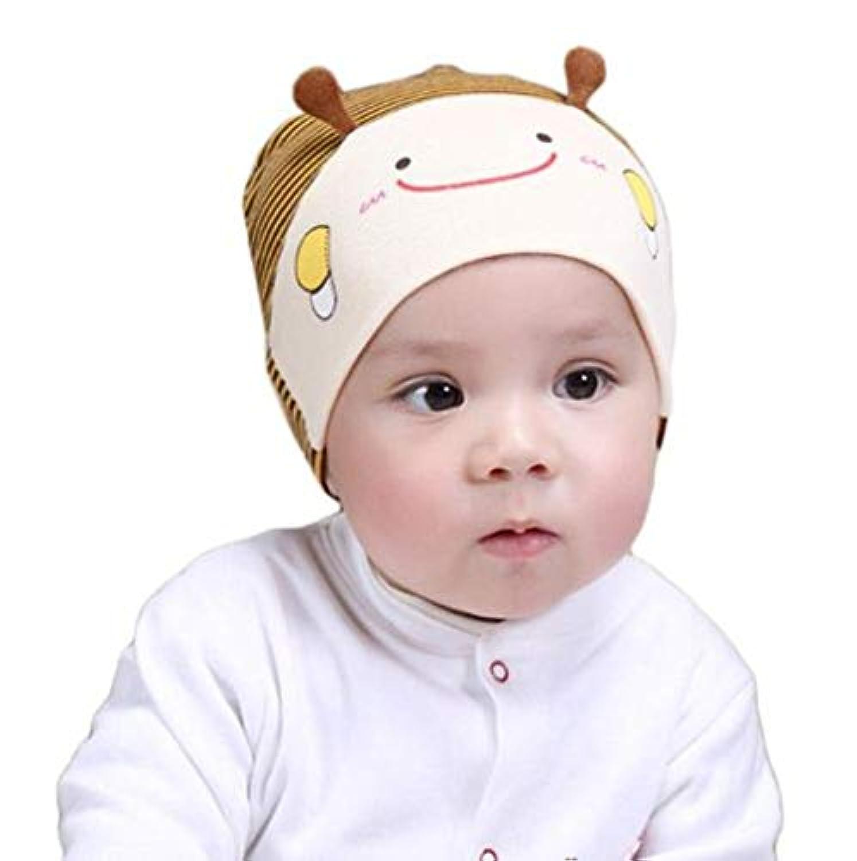 ベビー?キッズハット 帽子 新生児用(6~18カ月) 帽子 ベビー用帽 ニット帽 男の子 女の子 可愛いビー柄 春 夏 秋旅行 外出用防寒 防風 (ベージュ)