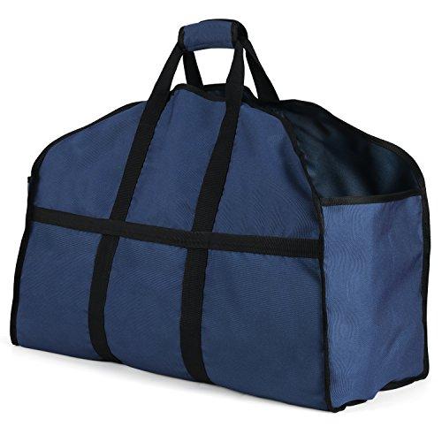 Gonex 薪持ち運び用 帆布 ログ トート キャリー バッグ 防水 暖炉 薪ストーブ用品 アウトドア キャンプ 紺