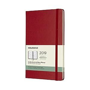 Moleskine 2019 12M Weekly Horizontal, Large, Weekly Horizontal, Red Scarlet, Hard Cover (5 x 8.25)