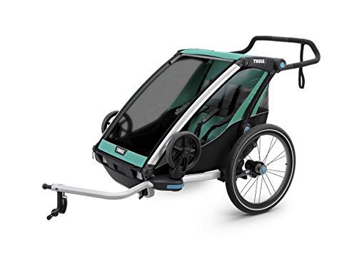 スーリー・チャリオット・ライト2<Thule Chariot Lite 2>けん引アーム&ベビーカー用前輪&防水レインカバー付属(色:ブルーグラズ/ブラック) 2人乗り・スポーツ用途から日常使いまで広範囲をカバーするマルチ・トレーラー保育園送迎最適・サスペンション搭載で快適です。特にベビーカーとしての性能が優れています。オプションを付けることで生後1ヶ月から使えます。旧代の最上位モデルCXの機能を随所に継承しています。競合と比べても大きなメリットがあります。店長お勧めです!