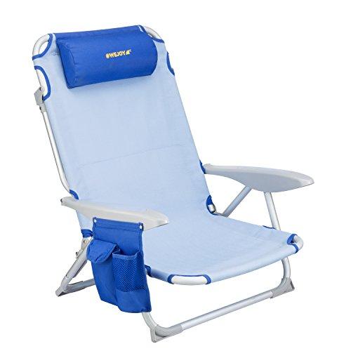 WEJOY(ウイジョイ) アウトドアローチェア ビーチ リクライニング 4階段調整 キャンプ椅子 コンパクト 折りたたみ ガーデン 釣り ブルー WF1005