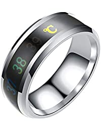 BIGBOBA European and American Fashion New Smart Temperature Couple Ring Mood Temperature Display Ring