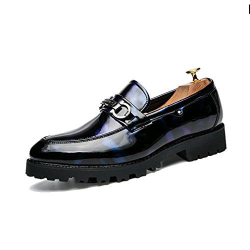 [QIFENGDIANZI]ビジネスシューズ メンズ スリッポン 紳士靴 ドレスシューズ 高級感たっぷり 通勤 就職 結婚式 フォーマル ウォーキング オシャレ お兄系 コンフォート 革靴  オールシーズン 25.5cm ブルー