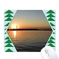太陽 オフィスグリーン松のゴムマウスパッド