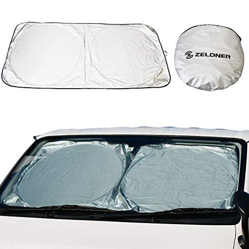 [ZELDNER] 小さくたためる サンシェード 汎用 遮光 フロントガラス用 収納バッグ付き フロント用 日よけシート 紫外線対策 日焼け対策 便利グッズ 人気