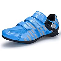Cycling Shoes, Adults Mountain Bike Shoes Breathable Anti-Slip Microfiber Training Shoes Sports Casual Self-Locking Shoes Running Shoe,Blue,39