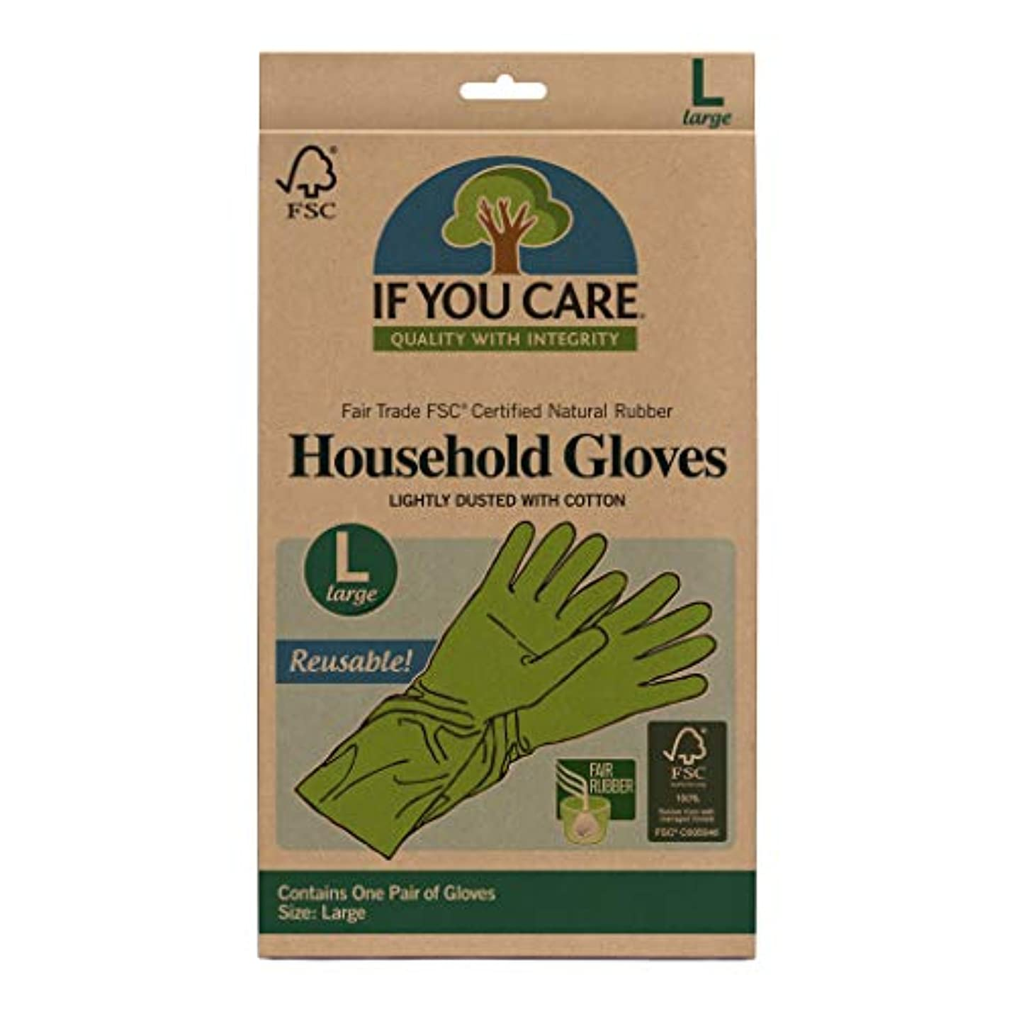 かまどピジンそれにもかかわらず海外直送品Household Gloves Latex Cotton Flock Lined, Large 1 PAIR by If You Care