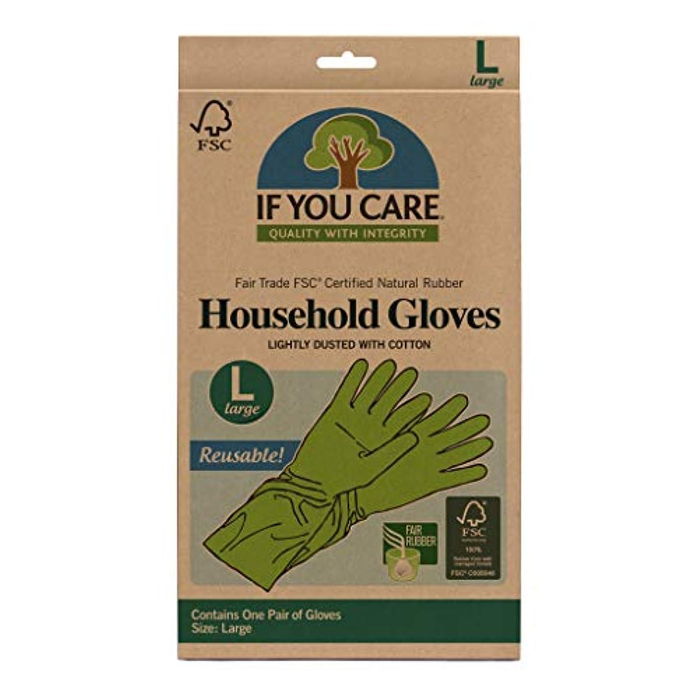 文明移行する修理工海外直送品Household Gloves Latex Cotton Flock Lined, Large 1 PAIR by If You Care