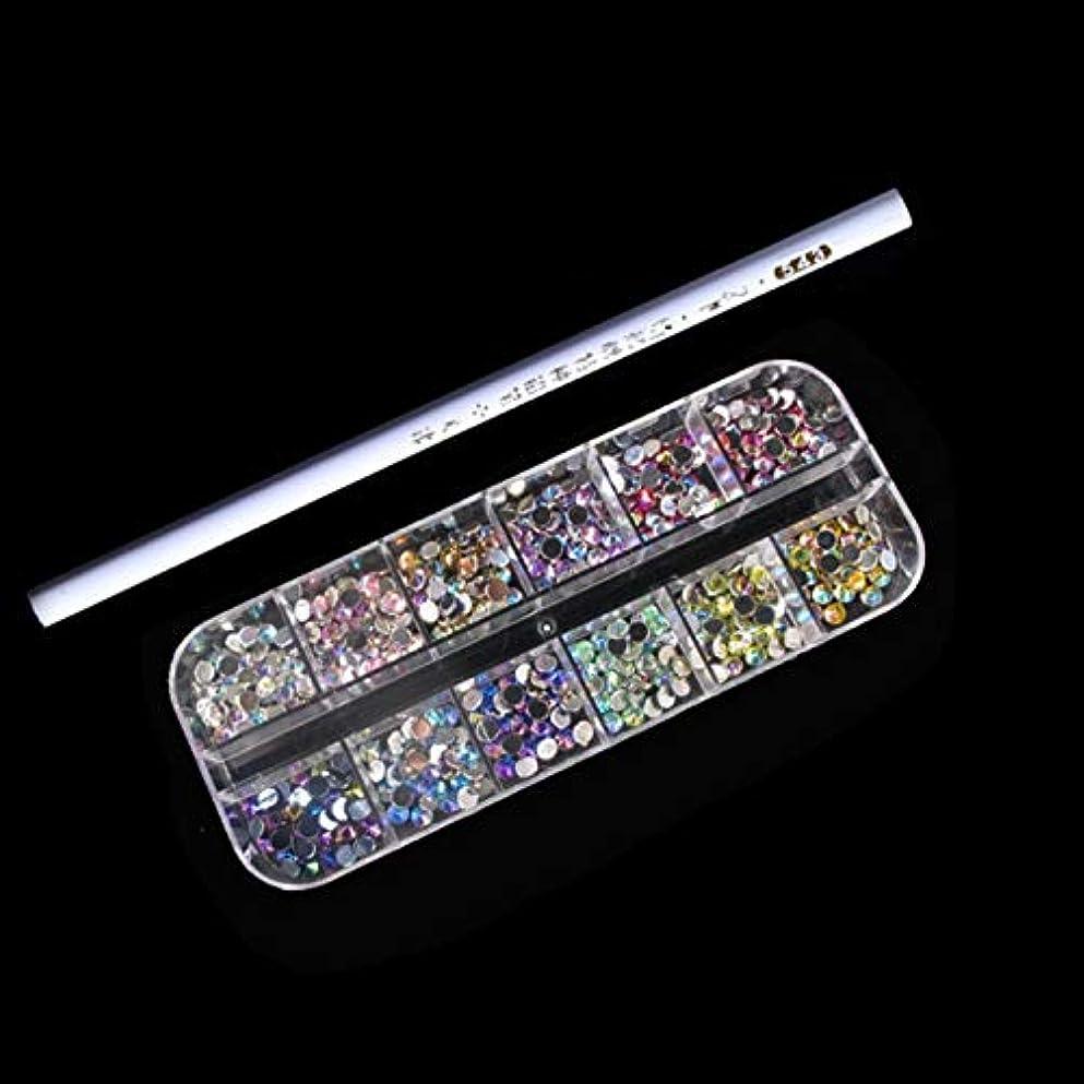 奇跡的な割るほめるWadachikis 最高品質の3 Dグリッターネイルラインストーンクリスタルスタッド&ネイルピッカーペンツールネイルアートデコレーションセット(None Flat bottom drill OT-0879)