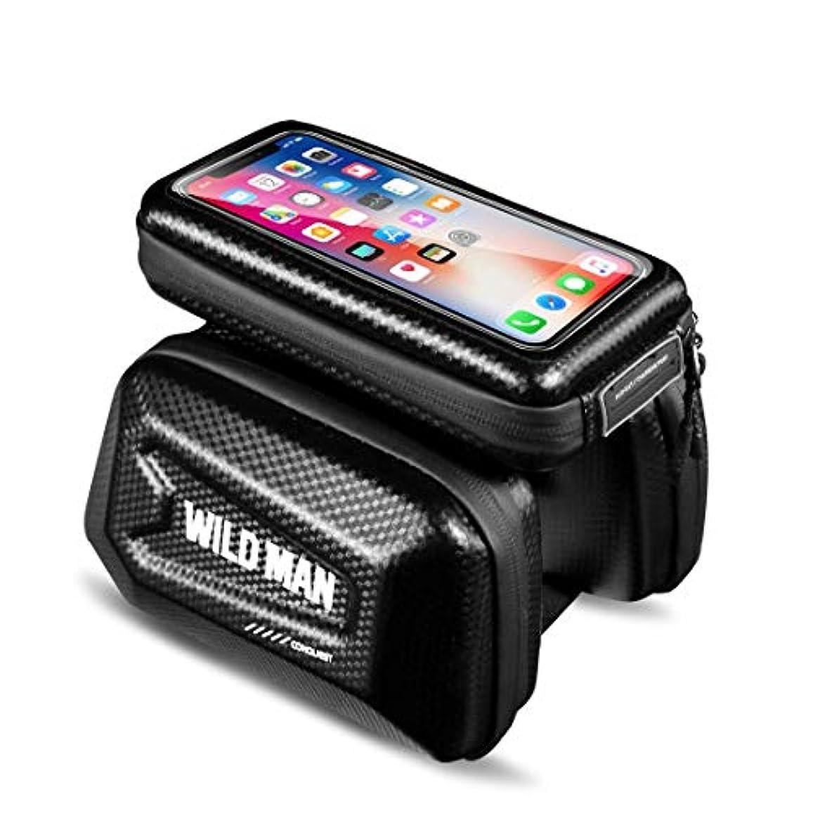 エンターテインメント反発するタワーWILD MAN ハードシェル タッチスクリーン 自転車 フロントトップ チューブ バイクバッグ 携帯電話ホルダー付き 6.0インチ以下の携帯電話用
