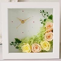 【Eclaire Flower Design】プリザーブドフラワー 壁掛け フラワー時計 オレンジ-イエロー