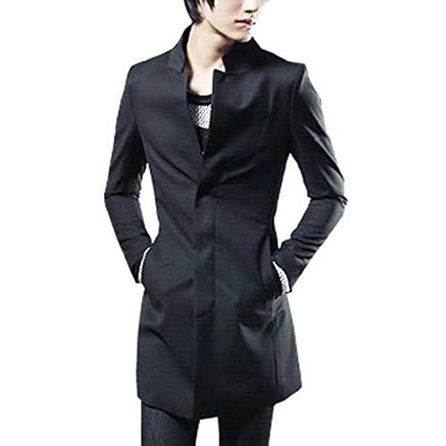 (ディーコッテ)D'Kotte メンズ コート スプリングコート トレンチ コート アウター 大きい サイズ ロング ショート 丈 キレイめ おしゃれ ジャケット スーツ ビジネス フォーマル カジュアル セレクト z489(XXL,ブラック)