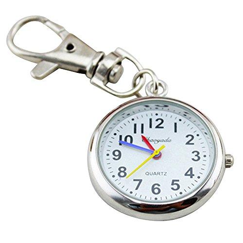 Ladyclare キーチェーンウォッチ 小さな 懐中時計 フックウオッチ 見やすい文字盤 時計 きーほるだー