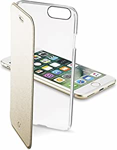 Cellularline iPhone8 ケース 手帳型 ゴールド iPhone7 CLEAR BOOK for iPhone 8/7【イタリアデザイン】