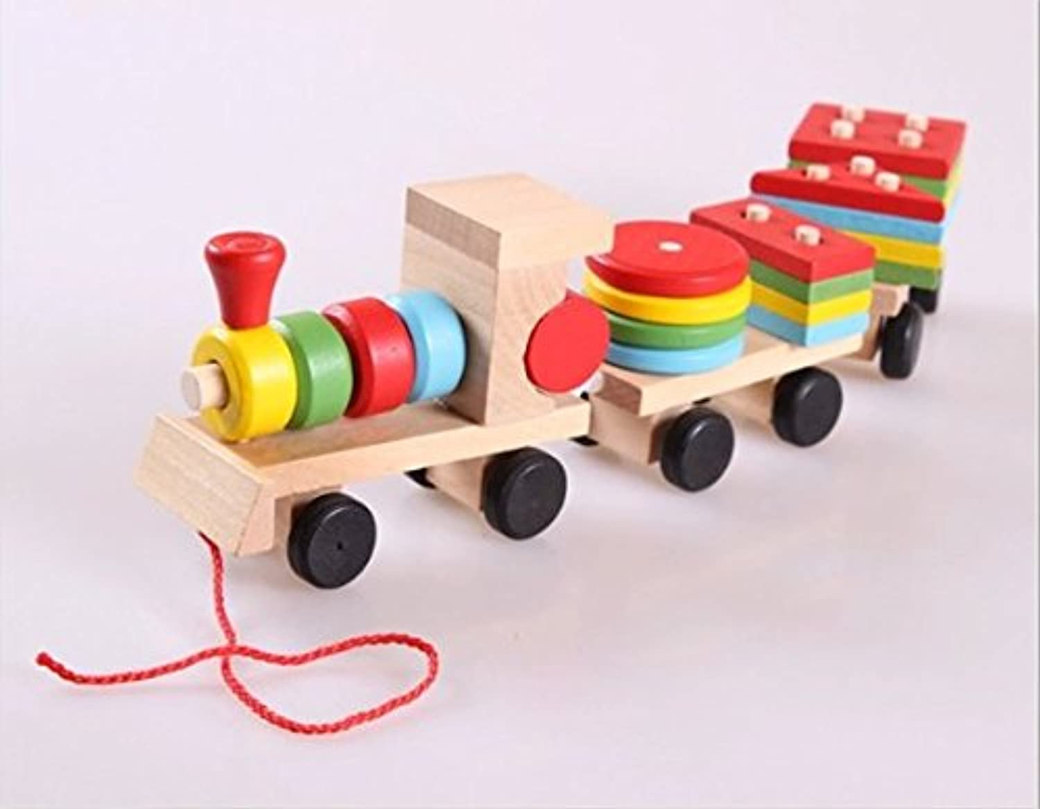 urtoysドラッグ3つデジタルSmall Wooden Train教育のセットTrains with Fun andカラフル幾何Figures and Stacking TrainペアリングDisassemblyの組み合わせ形状プルおもちゃ