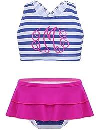 (イーエフイー)EFE 子供 水着 キッズ かわいい スイミング ウェア ボーダー スカート ストライプ セパレート 旅行 キュート ガール 女の子 女児