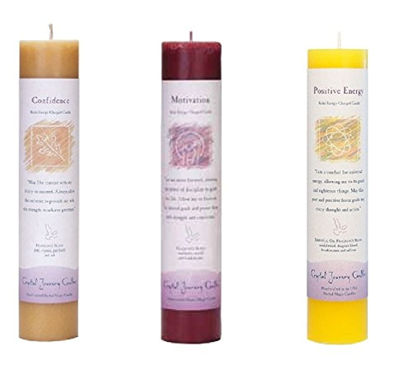 (Confidence, motivation, positive energy) - Crystal Journey Reiki Charged Herbal Magic Pillar Candle Bundle (Confidence...