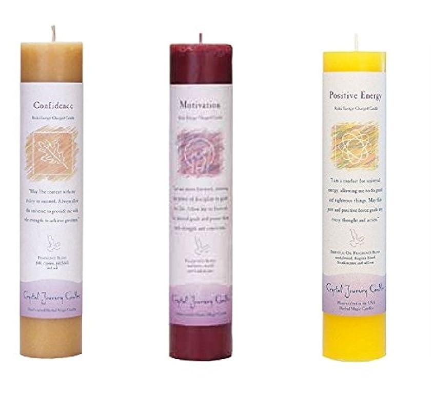 治世円形り(Confidence, motivation, positive energy) - Crystal Journey Reiki Charged Herbal Magic Pillar Candle Bundle (Confidence...