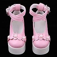P Prettyia 全7カラー ストラップシューズ 衣装アクセサリー 人形ハイヒール 靴 1/3スケールBJDドール人形のため - ピンク