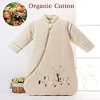 スリーパー 赤ちゃん オーガニックコットン100% 柔らかい 寝冷え防止 秋 冬 (新生児から6ヶ月)